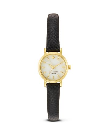 kate spade new york - Tiny Metro Black Leather Strap Watch, 20mm