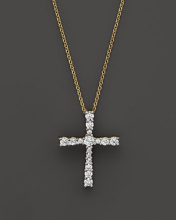 Bloomingdale's - Diamond Cross Pendant Necklace in 14K Yellow Gold, .50 ct. t.w.- 100% Exclusive