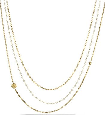 David Yurman - Starburst Chain Necklace with Pearls in Gold