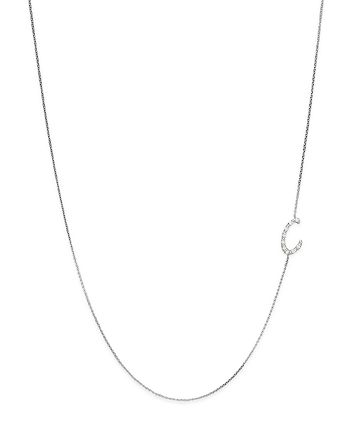 KC Designs - Diamond Side Initial C Necklace in 14K White Gold, .05 ct. t.w.