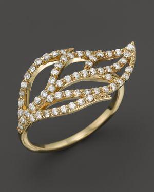 Kc Designs Diamond Leaf Ring in 14K Yellow Gold