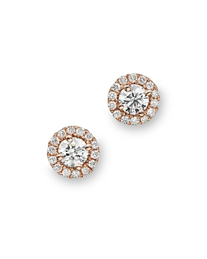 Diamond Halo Studs in 14K Rose Gold, .30 ct. t.w. - 100% Exclusive