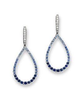 Bloomingdale's - Sapphire and Diamond Ombré Teardrop Earrings in 14K White Gold - 100% Exclusive