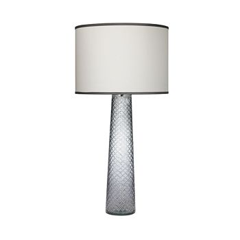 Jamie Young - Cut Glass Pillar Table Lamp, Grey with Large Drum Shade