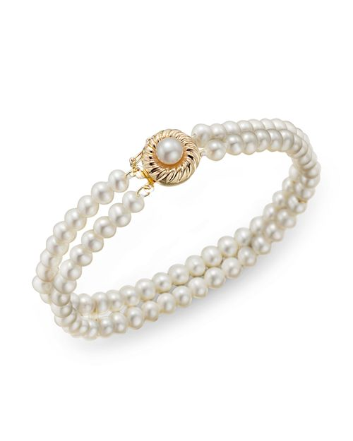 Bloomingdale's - Cultured Freshwater Pearl Two Row Bracelet in 14K Yellow Gold- 100% Exclusive