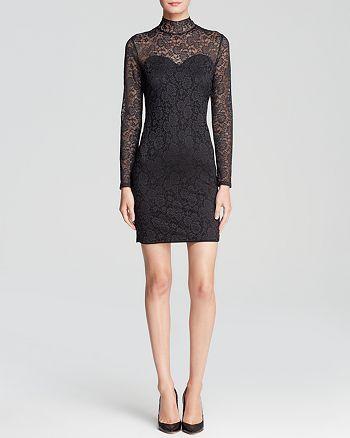 Guess Dress Long Sleeve Mock Neck Lace Bloomingdales