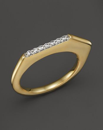 Kara Ross - 18K Yellow Gold Pangea V Stacking Ring with Diamonds
