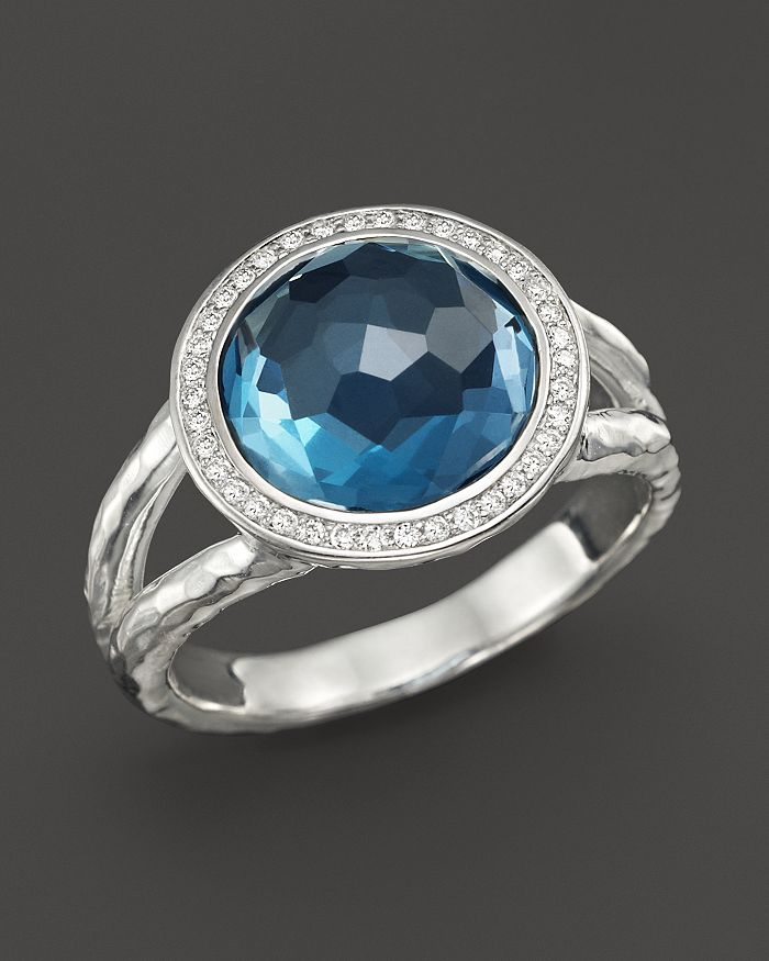 IPPOLITA - Sterling Silver Stella Mini Lollipop Ring in London Blue Topaz with Diamonds