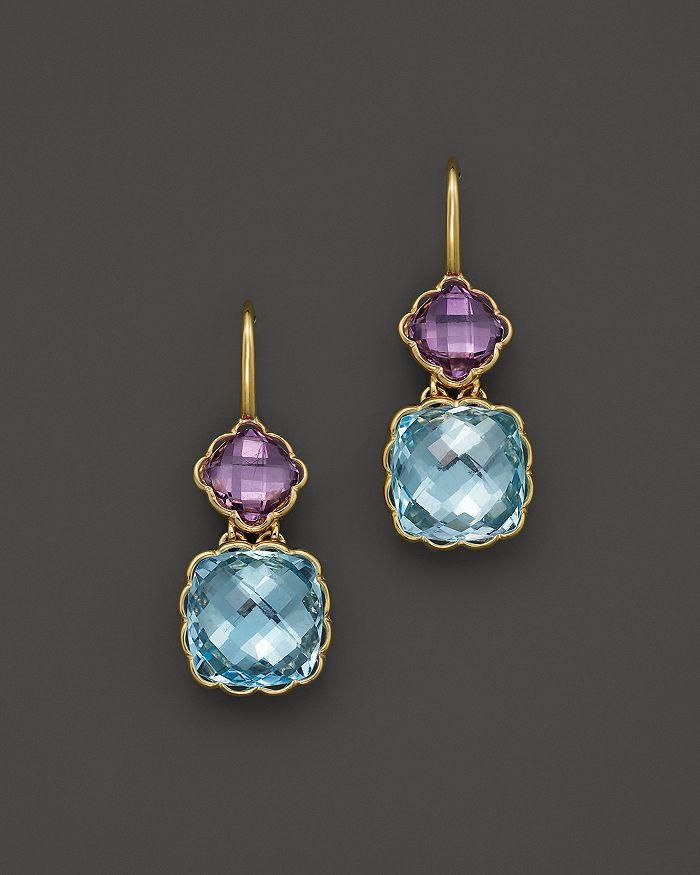 Bloomingdale's - Amethyst and Blue Topaz Drop Earrings in 14K Yellow Gold- 100% Exclusive
