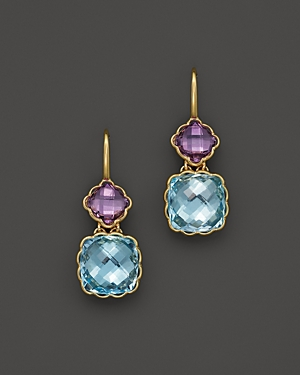 Amethyst and Blue Topaz Drop Earrings in 14K Yellow Gold - 100% Exclusive