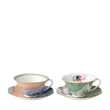 Wedgwood - Butterfly Bloom Teacup & Saucer, Set of 2: Blue Peony & Butterfly Posy