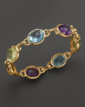 Cabochon Amethyst, Blue Topaz, Citrine and Green Quartz Bracelet in 14K Yellow Gold - 100% Exclusive