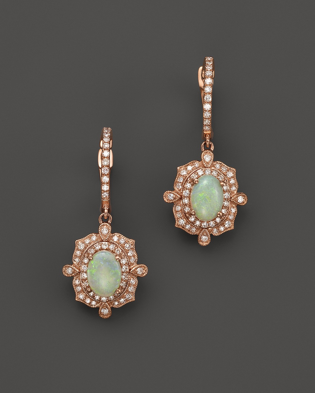 Brand-new Opal and Diamond Antique Inspired Drop Earrings in 14K Rose Gold  QV31