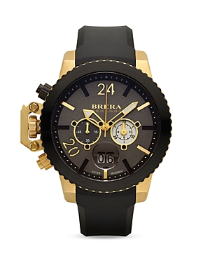 Brera Orologi Militare 16K Yellow Gold and Black Ionic-Plated Stainless Steel Watch with Black Rubber Strap, 48mm