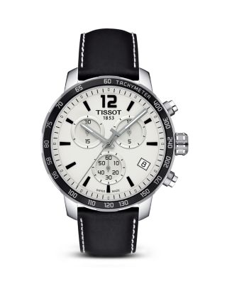Quickster Men'S Quartz Chronograph Black And Silver Dial Watch, 42Mm, Black/ Silver