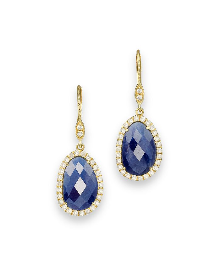 Meira T - 14K Yellow Gold Sapphire and Diamond Earrings