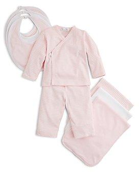 Kissy Kissy - Girls' Wrap-Front Shirt & Pants, Solid & Stripe Bib 3 Pack & More - Baby