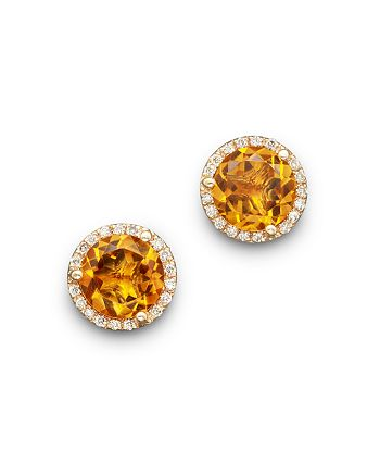 Bloomingdale's - Citrine and Diamond Halo Stud Earrings in 14K Yellow Gold - 100% Exclusive