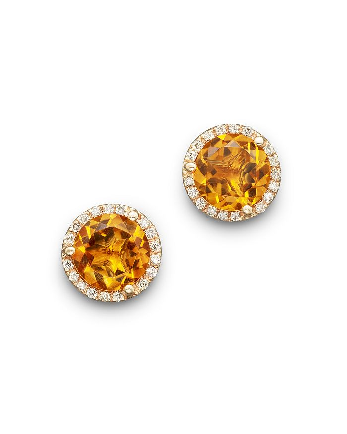 Bloomingdale's - Citrine and Diamond Halo Stud Earrings in 14K Yellow Gold- 100% Exclusive