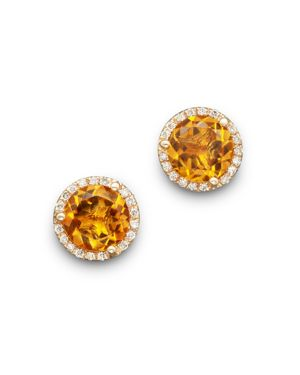 Citrine and Diamond Halo Stud Earrings in 14K Yellow Gold - 100% Exclusive