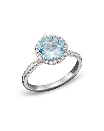 Bloomingdale's - Aquamarine and Diamond Halo Ring in 14K White Gold - 100% Exclusive