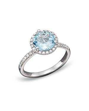 Aquamarine and Diamond Halo Ring in 14K White Gold - 100% Exclusive