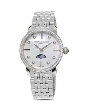 Frederique Constant - Slimline Moonphase Stainless Steel Watch with Mother of Pearl Dial, 30mm