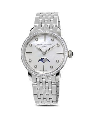 Frederique Constant Slimline Moonphase Stainless Steel Watch with Mother of Pearl Dial