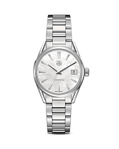 TAG Heuer - TAG Heuer Carrera Stainless Steel and White Mother of Pearl Dial Watch, 32mm