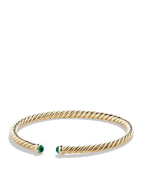 David Yurman Precious Cable Pav Eacute Cablespira Bracelet With Emeralds