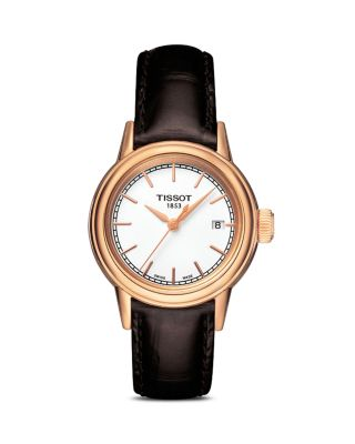 Carson Leather Strap Watch, 28Mm in Brown/ White/ Rose Gold
