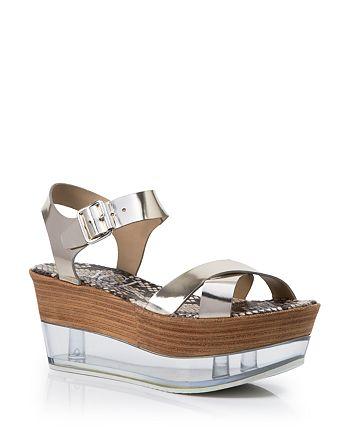 AGL Attilio Giusti Leombruni - Platform Wedge Sandals - Metallic Lucite