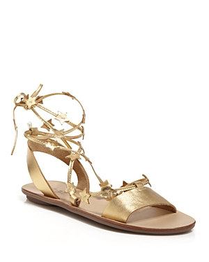 Loeffler Randall Open Toe Flat Lace Up Sandals - Starla Star