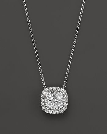 Bloomingdale's - Diamond Cluster Pendant Necklace in 14K White Gold, 2.0 ct. t.w.- 100% Exclusive