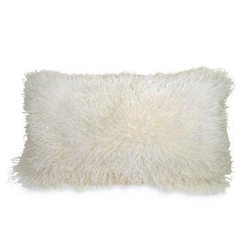 """Donna Karan - Flokati Fur Decorative Pillow, 11"""" x 22"""""""
