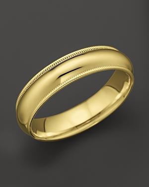 Men's 14K Yellow Gold Comfort Feel Milgrain Wedding Band - 100% Exclusive