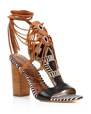 $Sam Edelman Sandals - Yates Tribal Beaded Wraparound High Heel - Bloomingdale's