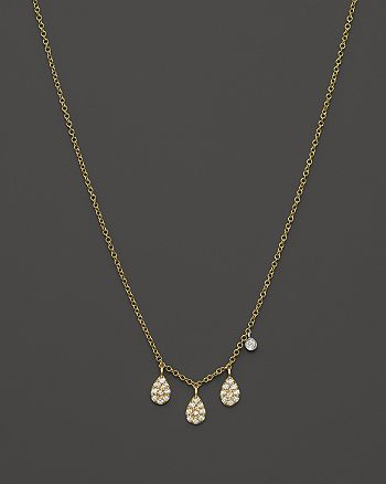 Meira T - 14K Yellow Gold Teardrop Pendant Necklace with Diamonds, 16""