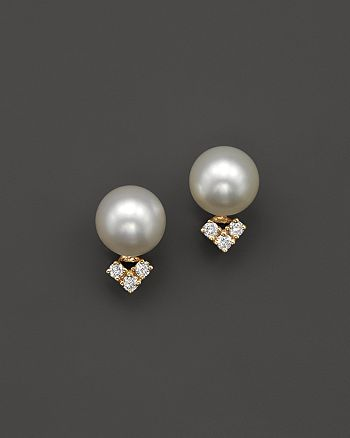 Bloomingdale's - Cultured Freshwater Pearl and Diamond Earrings in 14K Yellow Gold, 7mm - 100% Exclusive