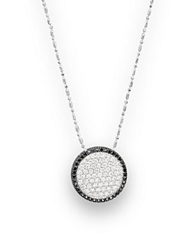 """Bloomingdale's - Black and White Diamond Pendant Necklace in 14K White Gold, 17""""- 100% Exclusive"""