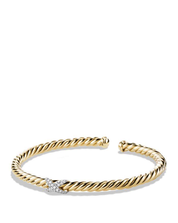 David Yurman X Bracelet with Diamonds in 18K Gold  | Bloomingdale's