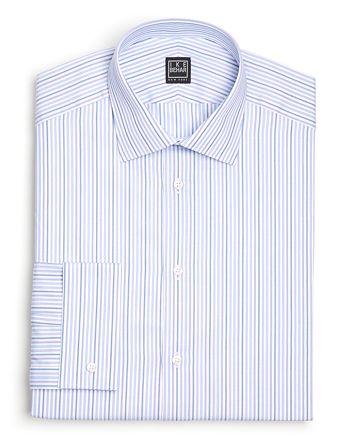 Ike Behar - Striped Herringbone Classic Fit Dress Shirt