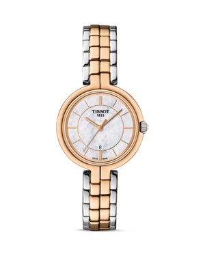 Tissot Flamingo Women's Two Tone Quartz Watch with Mother of Pearl Dial, 26mm