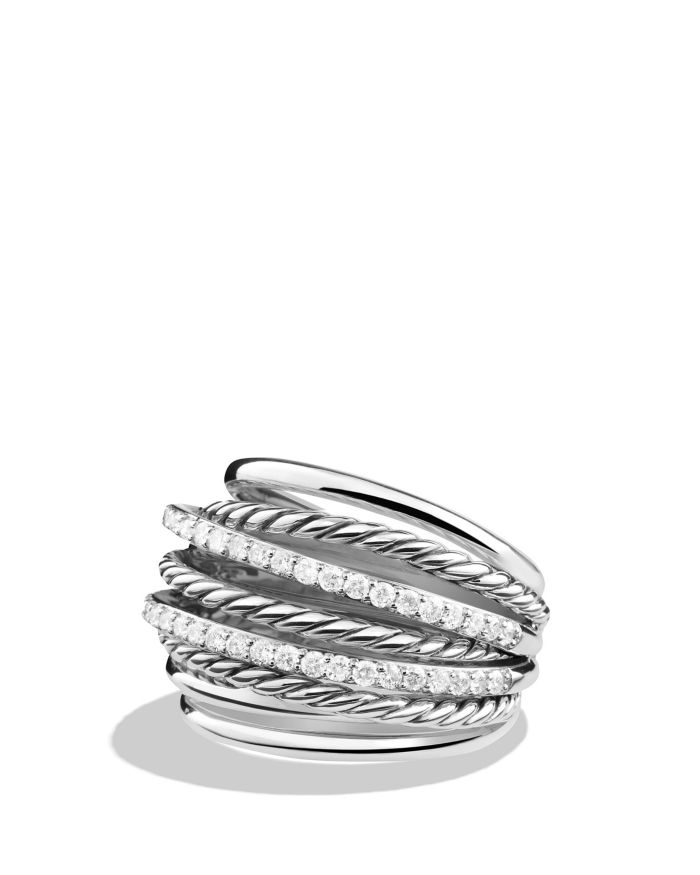 David Yurman Crossover Dome Ring with Diamonds   | Bloomingdale's