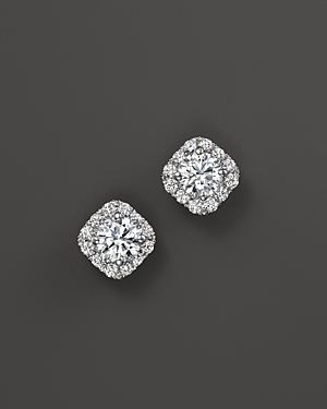 Diamond Halo Stud Earrings in 14K White Gold, .75 ct. t.w. - 100% Exclusive