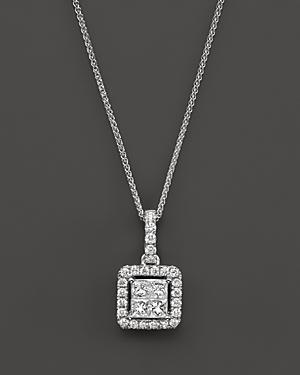 Diamond Princess Cut Halo Pendant Necklace in 14K White Gold, .40 ct. t.w. - 100% Exclusive
