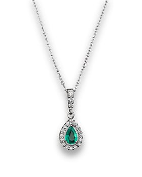"""Bloomingdale's - Emerald and Diamond Pendant Necklace in 14K White Gold, 16""""- 100% Exclusive"""
