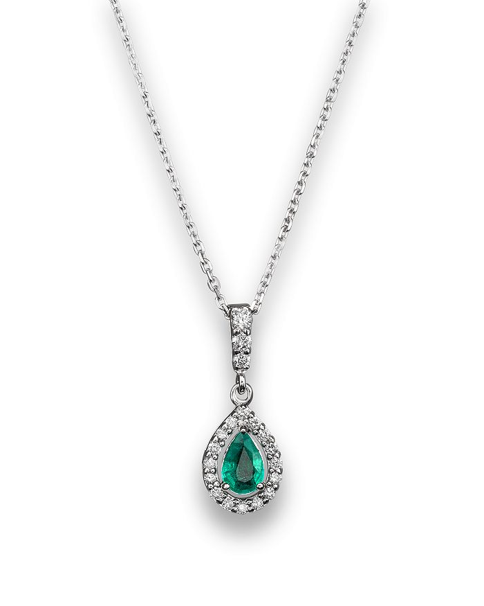 "Bloomingdale's - Emerald and Diamond Pendant Necklace in 14K White Gold, 16"" - 100% Exclusive"