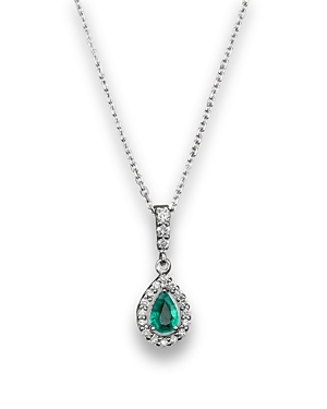 Emerald and Diamond Pendant Necklace in 14K White Gold, 16 - 100% Exclusive