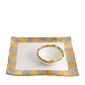 Michael Wainwright Tempio Luna Gold Square Tray with Bowl
